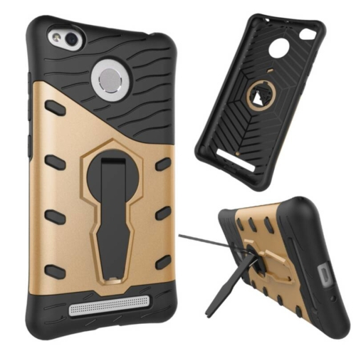 Buy Xiaomi Redmi 3S Shock-Resistant 360 Degree Spin Tough Armor TPU+PC Combination Case with Holder, Gold for $2.44 in SUNSKY store