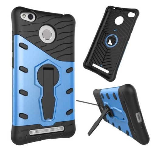 Buy Xiaomi Redmi 3S Shock-Resistant 360 Degree Spin Tough Armor TPU+PC Combination Case with Holder, Blue for $2.44 in SUNSKY store