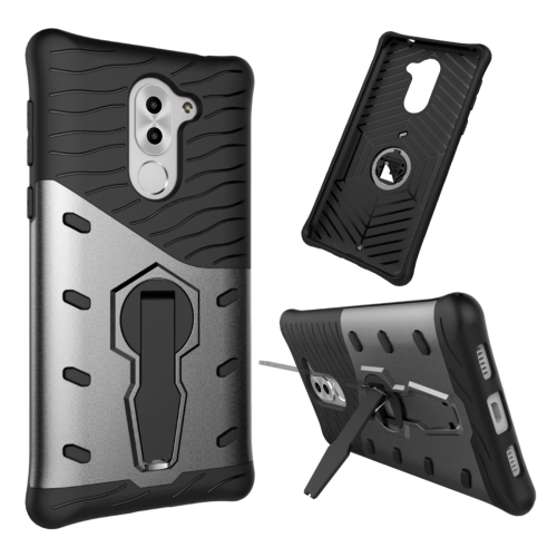 Buy Huawei Honor 6X Shock-Resistant 360 Degree Spin Sniper Hybrid Case TPU + PC Combination Case with Holder, Black for $2.46 in SUNSKY store