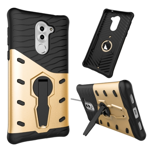 Buy Huawei Honor 6X Shock-Resistant 360 Degree Spin Sniper Hybrid Case TPU + PC Combination Case with Holder, Gold for $2.46 in SUNSKY store
