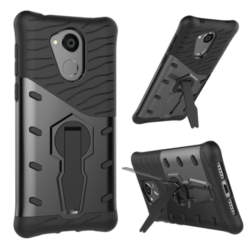 Buy Huawei Honor 6C Shock-Resistant 360 Degree Spin Sniper Hybrid cover TPU + PC Combination Case with Holder, Black for $2.56 in SUNSKY store