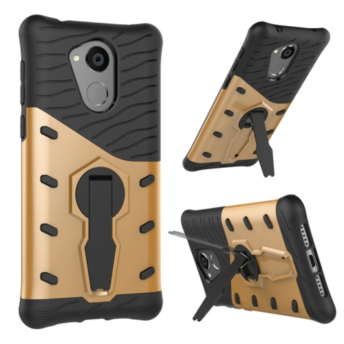 Buy Huawei Honor 6C Shock-Resistant 360 Degree Spin Sniper Hybrid cover TPU + PC Combination Case with Holder, Gold for $2.56 in SUNSKY store