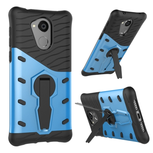 Huawei Honor 6C Shock-Resistant 360 Degree Spin Sniper Hybrid cover TPU + PC Combination Case with Holder, Blue