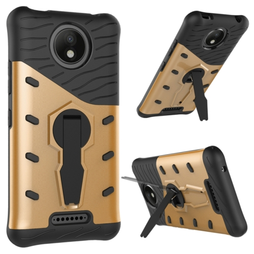 Buy For Motorola Moto C Plus Shock-Resistant 360 Degree Spin Sniper Hybrid Cover TPU + PC Combination Case with Holder, Gold for $2.49 in SUNSKY store