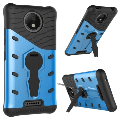 Buy For Motorola Moto C Plus Shock-Resistant 360 Degree Spin Sniper Hybrid Cover TPU + PC Combination Case with Holder, Blue for $2.49 in SUNSKY store