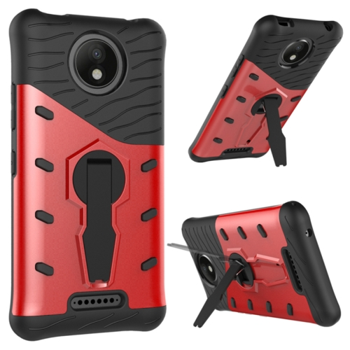 Buy For Motorola Moto C Plus Shock-Resistant 360 Degree Spin Sniper Hybrid Cover TPU + PC Combination Case with Holder, Red for $2.44 in SUNSKY store