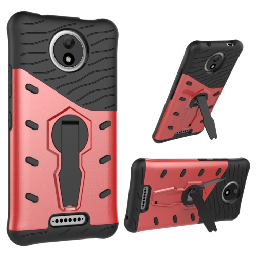 For Motorola Moto C Shock-Resistant 360 Degree Spin Sniper Hybrid Cover TPU + PC Combination Case with Holder, Red