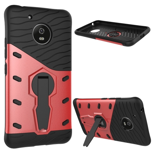 Buy For Motorola Moto G (5th Gen.) Shock-Resistant 360 Degree Spin Sniper Hybrid Case TPU + PC Combination Case with Holder, Red for $2.29 in SUNSKY store