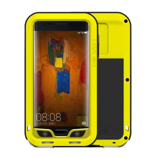 LOVE MEI Huawei Mate 9 Pro Professional and Powerful Dustproof Shockproof Anti-slip Metal + Silicone Combination Case, Yellow