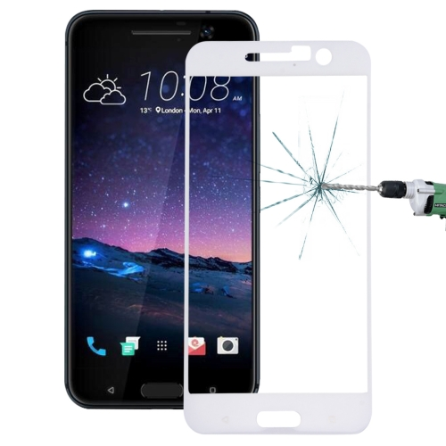 Buy For HTC One M10 0.26mm 9H Surface Hardness 3D Explosion-proof Colorized Silk-screen Tempered Glass Full Screen Film, White for $2.67 in SUNSKY store