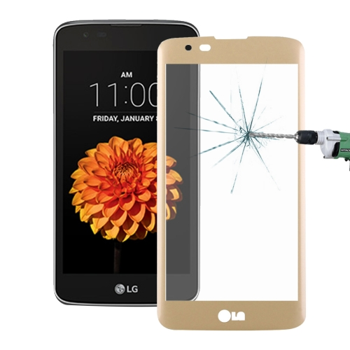 Buy For LG K7 0.26mm 9H Surface Hardness 3D Explosion-proof Colorized Silk-screen Tempered Glass Full Screen Film, Gold for $2.67 in SUNSKY store