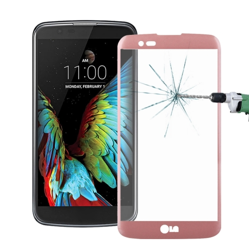 For LG K10 0.26mm 9H Surface Hardness 3D Explosion-proof Colorized Silk-screen Tempered Glass Full Screen Film, Pink