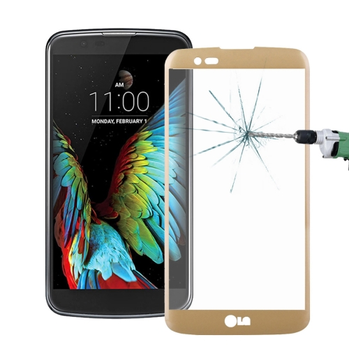 Buy For LG K10 0.26mm 9H Surface Hardness 3D Explosion-proof Colorized Silk-screen Tempered Glass Full Screen Film, Gold for $2.67 in SUNSKY store
