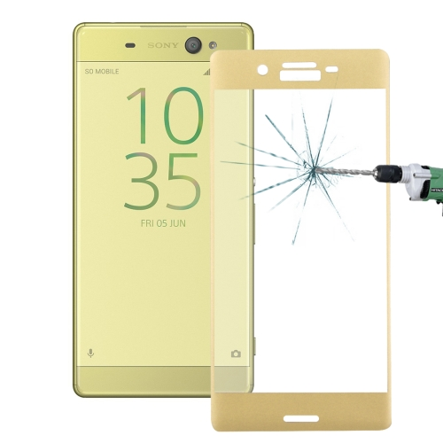 Buy For Sony Xperia X 0.26mm 9H Surface Hardness 3D Explosion-proof Colorized Silk-screen Tempered Glass Full Screen Film, Gold for $2.67 in SUNSKY store