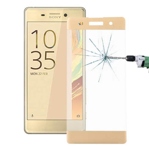 Buy For Sony Xperia XA 0.26mm 9H Surface Hardness 3D Explosion-proof Colorized Silk-screen Tempered Glass Full Screen Film, Gold for $2.67 in SUNSKY store