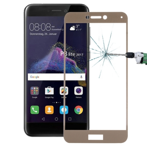 Buy Huawei P8 Lite, 2017 0.26mm 9H Surface Hardness Explosion-proof Full Screen Tempered Glass Screen Film, Gold for $1.34 in SUNSKY store