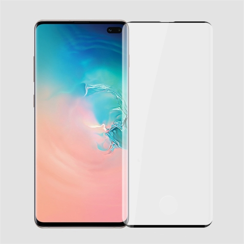 PINWUYO 9H 3D Curved Heat Bending Full Screen Tempered Glass Film for Galaxy S10 Plus (Black)