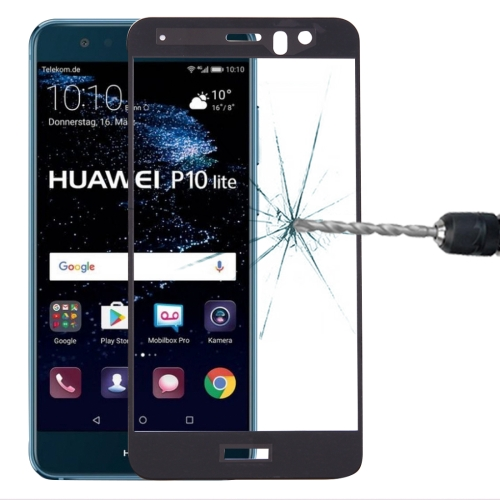 For Huawei P10 Lite 0.3mm 9H Surface Hardness 2.5D Curved Silk-screen Full Screen Tempered Glass Screen Protector(Black)