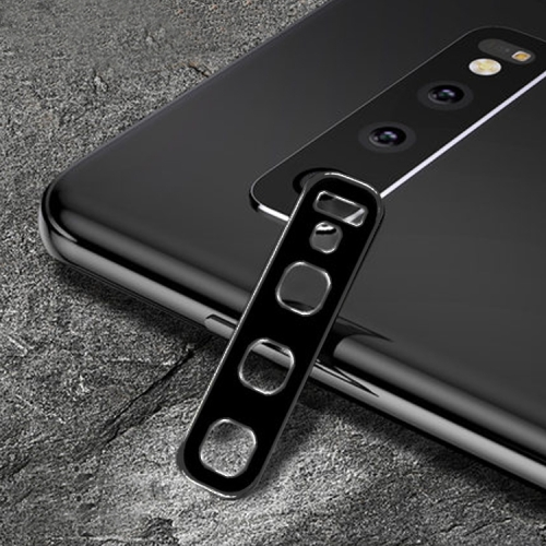 Titanium Alloy Metal Camera Lens Protector Tempered Glass Film for Galaxy S10 / S10+ (Black)