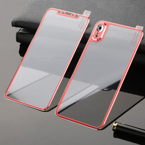 Titanium Alloy Edge Full Coverage Front + Back Tempered Glass Screen Protector for iPhone XR (Red)