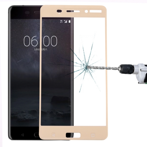 Buy For Nokia 6 0.3mm 9H Surface Hardness 2.5D Curved Silk-screen Full Screen Tempered Glass Screen Protector, Gold for $1.34 in SUNSKY store