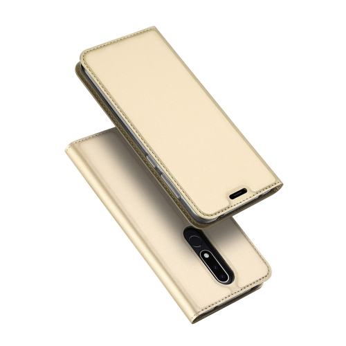 DUX DUCIS Skin Pro Series Horizontal Flip PU + TPU Leather Case for Nokia 3.1 Plus, with Holder & Card Slots (Gold)