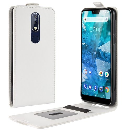 R64 Texture Single Fold Vertical Flip Leather Case for Nokia 7.1, with Card Slots & Wallet(White)