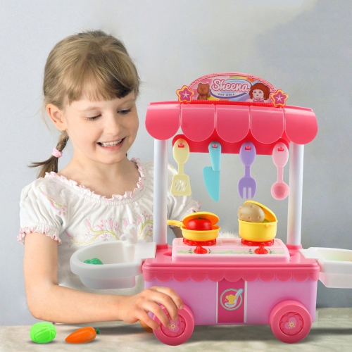 MoFun T1002B Simulation Music Lighting Effect Dining Car Stove Kitchenware Toys Set with Bear & Suitcase