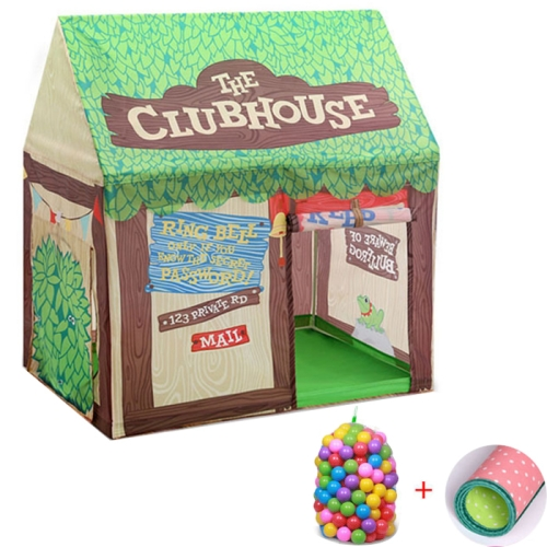 Household Children Printing Play Tent Small Game House with 50 Ocean Balls & Mat (Green)