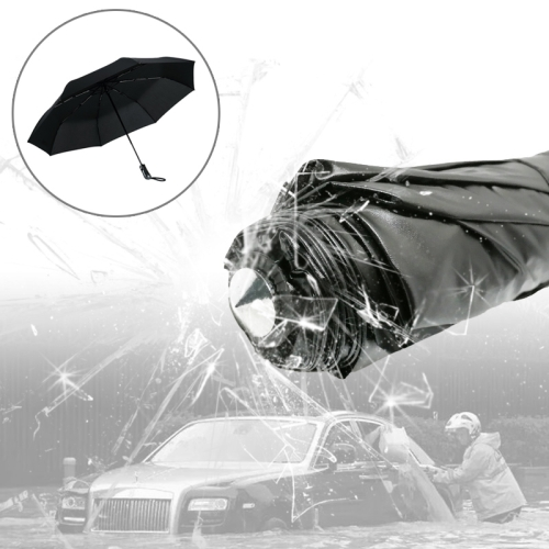Buy 3-Folding Umbrella Automatic Auto Open Close Umbrella Ultraviolet-proof Waterproof All-weather Umbrella with Emergency Hammer Window Breaker, Black for $9.97 in SUNSKY store