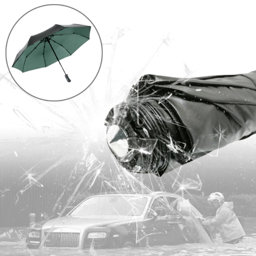Buy 3-Folding Umbrella Automatic Auto Open Close Umbrella Ultraviolet-proof Waterproof All-weather Umbrella with Emergency Hammer Window Breaker, Green for $9.69 in SUNSKY store