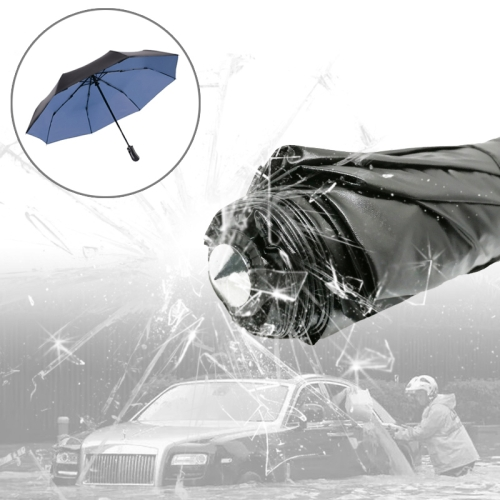 Buy 3-Folding Umbrella Automatic Auto Open Close Umbrella Ultraviolet-proof Waterproof All-weather Umbrella with Emergency Hammer Window Breaker, Blue for $9.65 in SUNSKY store