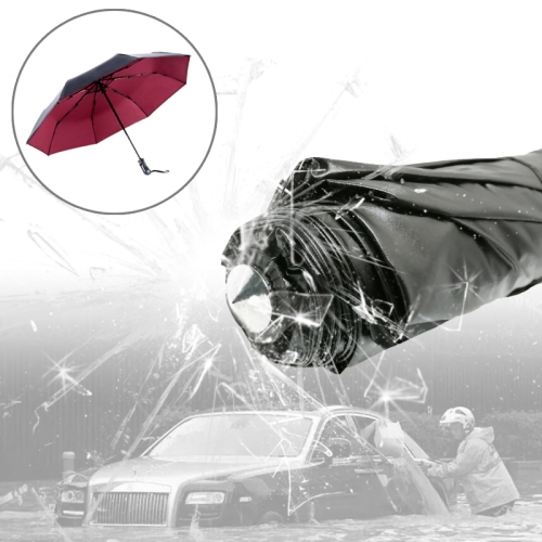 Buy 3-Folding Umbrella Automatic Auto Open Close Umbrella Ultraviolet-proof Waterproof All-weather Umbrella with Emergency Hammer Window Breaker, Red for $9.65 in SUNSKY store