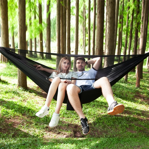 Portable Outdoor Parachute Hammock with Mosquito Nets (Black)