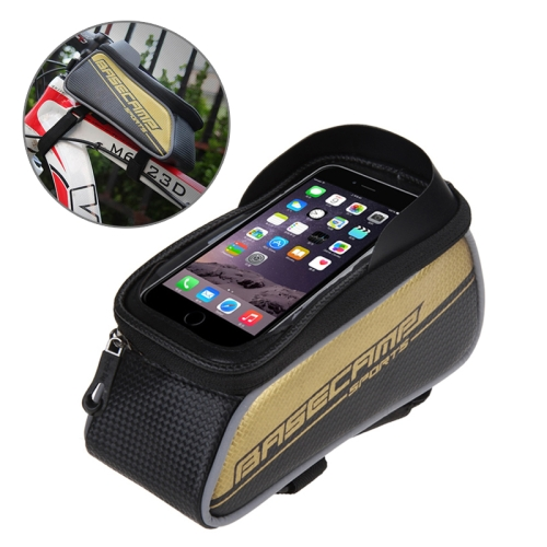 Buy BaseCamp BC-302 Bicycle Phone Bags Mountain Road Bike Front Head Top Frame Handlebar Bag with Transparent Window & Sun Visor for 12*7cm and Below Smartphones, Small Size, Gold for $8.51 in SUNSKY store