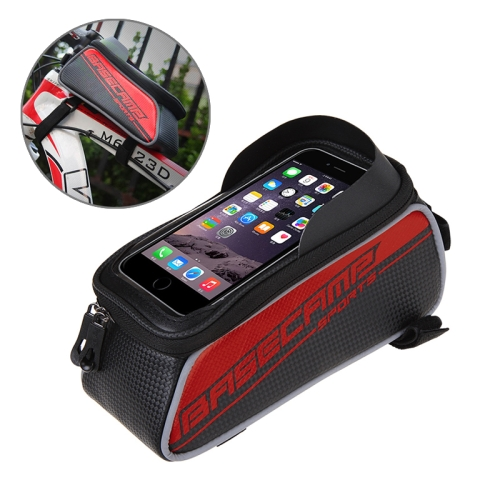 Buy BaseCamp BC-302 Bicycle Phone Bags Mountain Road Bike Front Head Top Frame Handlebar Bag with Transparent Window & Sun Visor for 12*7cm and Below Smartphones, Small Size, Red for $8.51 in SUNSKY store