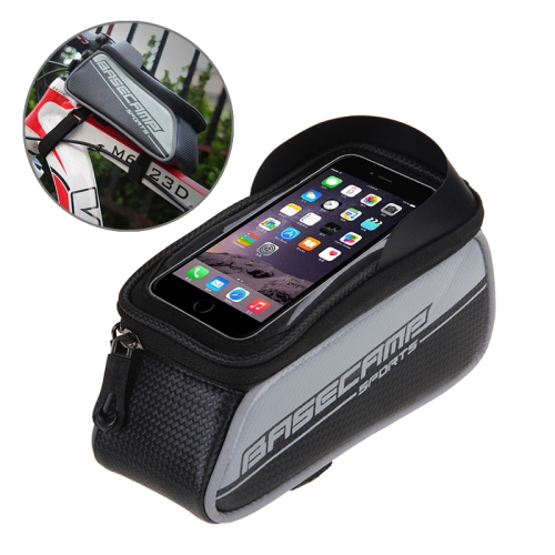 Buy BaseCamp BC-302 Bicycle Phone Bags Mountain Road Bike Front Head Top Frame Handlebar Bag with Transparent Window & Sun Visor for 12*7cm and Below Smartphones, Small Size, Silver for $8.51 in SUNSKY store