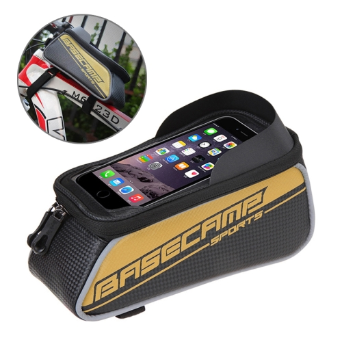 Buy BaseCamp BC-302 Bicycle Phone Bags Mountain Road Bike Front Head Top Frame Handlebar Bag with Transparent Window & Sun Visor for 15*8cm and Below Smartphones, Big Size, Gold for $8.51 in SUNSKY store