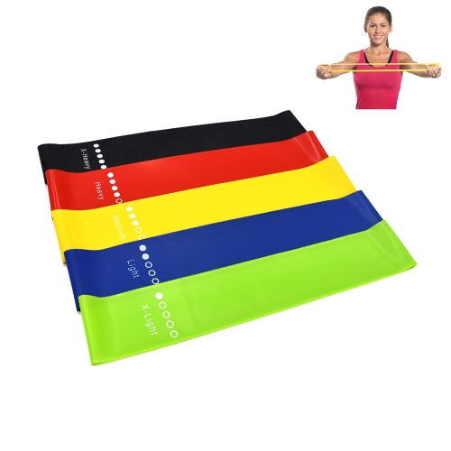 5 Color (Black, Blue, Green, Red, Yellow) Heavy Thicker Resistance Bands Fitness Natural Latex Stretch Band Yoga Straps with Pouch Bag