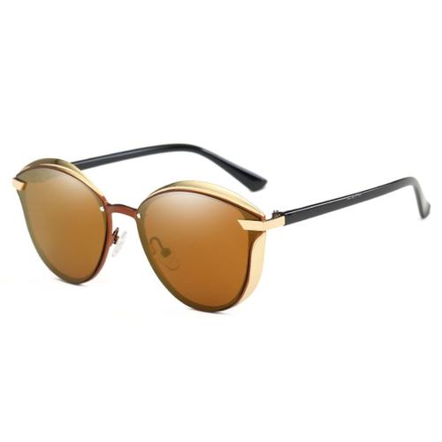 P0824 Women Fashion Retro Round Metal Frame UV400 Polarized Sunglasses(Brown)