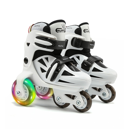 Adjustable Children Flash Four-wheel Roller Skates Skating Shoes, Size : S (Black White)