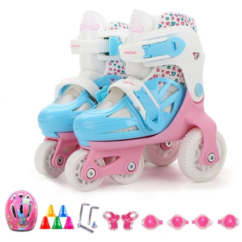 Adjustable Children Four-wheel Roller Skates Skating Shoes with Protective Clothing, Size : XS (Pink)