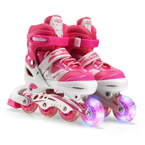Adjustable Children Single Flash Single Four-wheel Roller Skates Skating Shoes, Size : S (Pink)