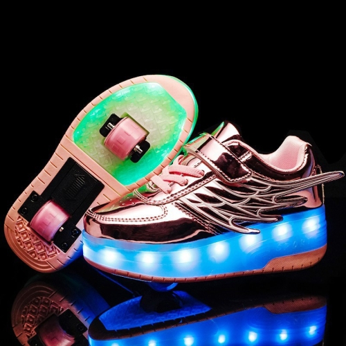 CD03 LED Rechargeable Double Wheel Wing Roller Skating Shoes, Size : 32 (Pink)