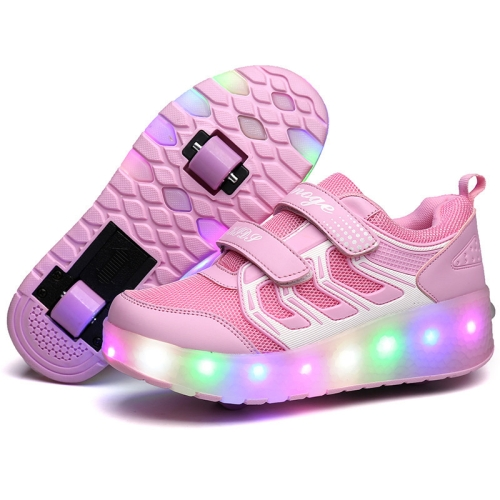 WS01 LED Light Ultra Light Mesh Surface Rechargeable Double Wheel Roller Skating Shoes Sport Shoes, Size : 27(Pink)