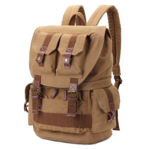 Buy Multifunction Canvas Backpack Shoulders Bag Cameras Bags Outdoor Sports Bag with Interior Lining & Rain Cover, Size: 45x33x20cm, Khaki for $29.14 in SUNSKY store