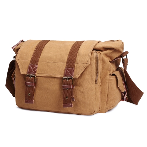 Buy Multifunction Canvas Messenger Cameras Bags Travel Crossbody Shoulder Tablet Bag with Interior Lining, Size: 36x31x15cm, Khaki for $25.80 in SUNSKY store