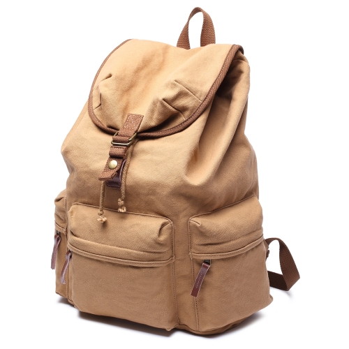 Buy Multifunction Canvas Backpack Shoulders Bag Cameras Bags Outdoor Sports Bag with Interior Lining & Rain Cover, Size: 50x37x15cm, Khaki for $26.90 in SUNSKY store