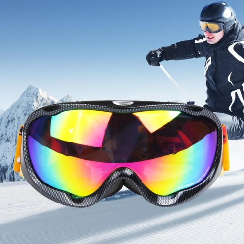 H002 Unisex Dual Layers Anti-fog Windprooof UV Protection Spherical Goggles with Adjustable Strap (Carbon Fiber)