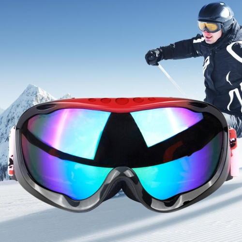 Buy H005 Unisex Dual Layers Anti-fog Windprooof UV Protection Spherical Goggles with Adjustable Widened Strap (Red+Black) for $16.33 in SUNSKY store